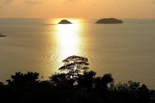 Sunset, Chang Islands, National Park, Koh Chang, Thailand, Asia, sea : Stock Photo