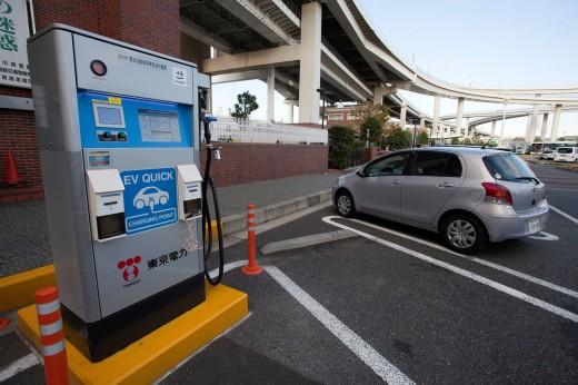 Yokohama, city, gas station, car, automobile, electricity, electric car, automobile, fill up, energy, environment, Japan, November, Asia, Yokohama : Stock Photo