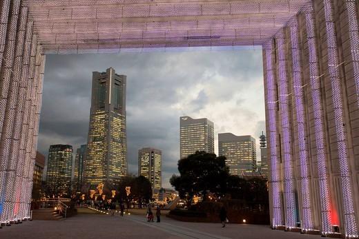 Yokohama, city, town, city, Japan, November, Asia, Skyline, evening, dusk, twilight, lights, illumination, blocks of flats, high_rise buildings, dark, light, park, passer_by, pedestrian, pedestrian, Yokohama : Stock Photo