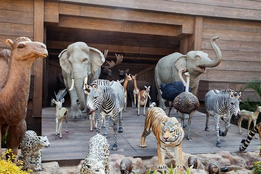 Stock Photo: 1597-137713 Asia, China, Hong Kong, Hongkong, Park Island, Noah´s Ark, Noahs Ark, Ark, Giraffe, Giraffes, Polar Bear, Bear, Elephant, Tiger, Zebra, Animal, Animals, Sculpture, Sculptures, Religion, Tourism, Holiday, Vacation, Travel