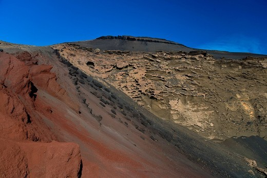Stock Photo: 1597-137893 El Golfo, Charco de los Clicos, Spain, Europe, rock, cliff, formation, Canary islands, isle, ,, Lanzarote, lava,