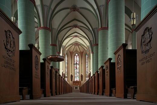 Germany, Europe, Attendorn, Bigge, Sauerland, North Rhine_Westphalia, church, Saint John, Baptist, Sauerland cathedral, dome, Catholic, Inside, long house, Gothic : Stock Photo