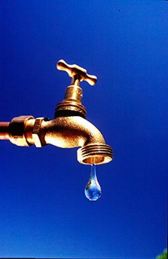 Stock Photo: 1597-13831 aquatic shortage, drinking water, last drop, drop of water, faucet, symbol, Water