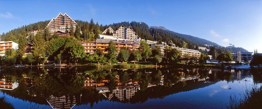 Stock Photo: 1597-138995 Switzerland, Europe, Valais, Crans Montana, tourism, travel, Lac Grenon, lake, summer, hotel, reflection