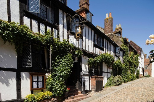 UK, United Kingdom, Europe, Great Britain, Britain, England, East Sussex, Sussex, Rye, Cinque Ports, Mermaid Street, Street Scene, Cobbled Street, Cobble Stones, Cobbles, Hotel, Hotels, Accomodation, Tourism, Travel, Holiday, Vacation : Stock Photo