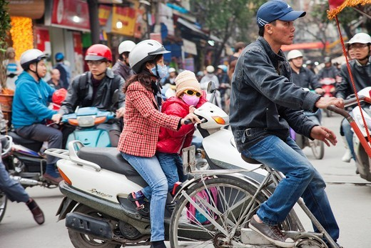 Asia, Vietnam, Hanoi, Traffic, Traffic Jam, Traffic Congestion, Motorbikes, Motorcycles, Transport, Transportation, Street Scene, Street Scenes, Air Pollution, Pollution, Tourism, Travel, Holiday, Vacation : Stock Photo