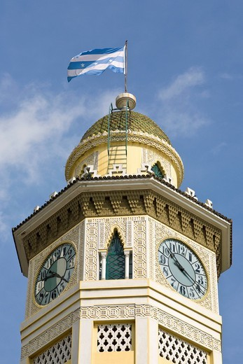 Guayaquil, Ecuador, clock tower, clock, flag, Mozarabic, architecture, style, Guayas, city, South America, nobody, vertical : Stock Photo