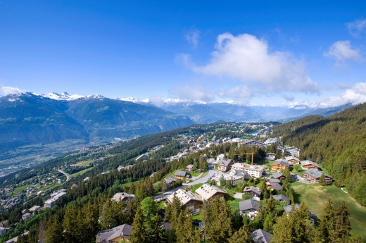 Switzerland, Europe, cloud, clouds, summers, wood, forest, tree, mountain, mountains, panorama, scenery, town, city, Valais, Crans Montana, Crans, Montana, : Stock Photo