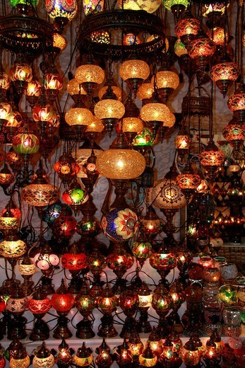 Istanbul, Turkey, big, great, bazaar, Kapali Carsi, market, lamps, colours, lanterns, travel, tourism : Stock Photo