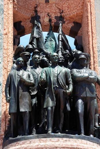 Istanbul, Turkey, Taksim, monument, Atatürk, statue : Stock Photo