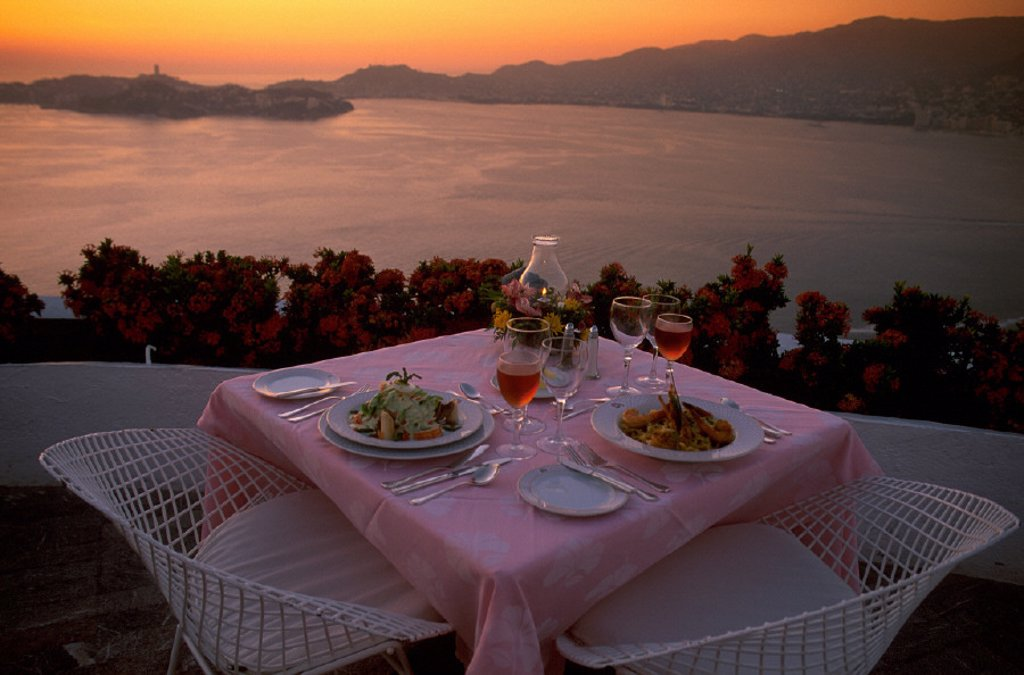 Acapulco, Bella Vista, catering, coast, cuisine, desk, dishes, dusk, flowers, food, Guerrero, holidays, kitchen, Mex : Stock Photo