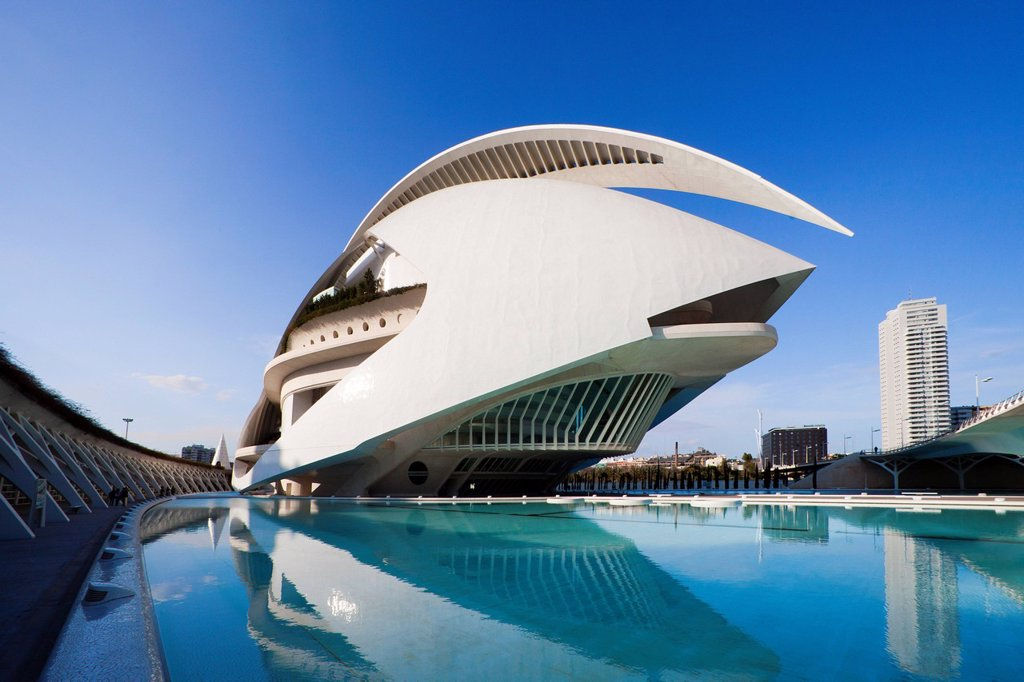 Stock Photo: 1597-141897 Spain, Europe, Valencia, City of Arts and Science, Calatrava, architecture, modern, Palace of Arts