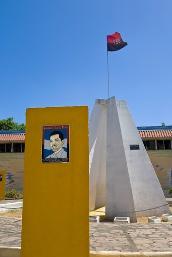 Plaque to Rigoberto Lopez Perez, Sandinista Memorial to the Heroes and Martyrs of Leon, Leon, Nicaragua : Stock Photo