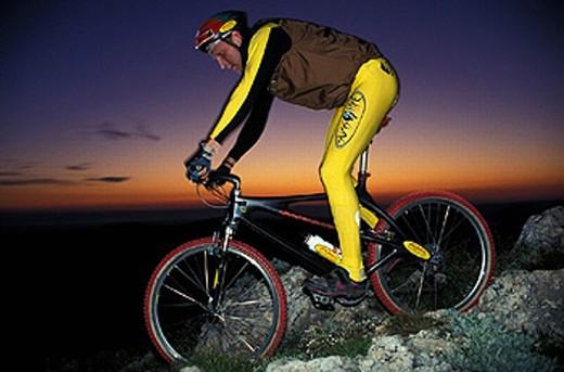 action, at night, bicycle, bike, Biking, dusk, man, mood, mountain bike, mountains, Alps, night, sports, twilight, E : Stock Photo