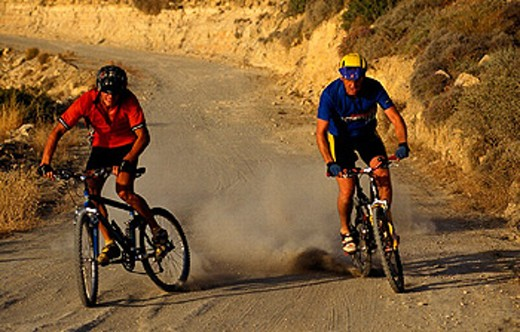 action, bicycle, bike, Biking, Downhill, dust, mountain bike, sports, two, men, way : Stock Photo