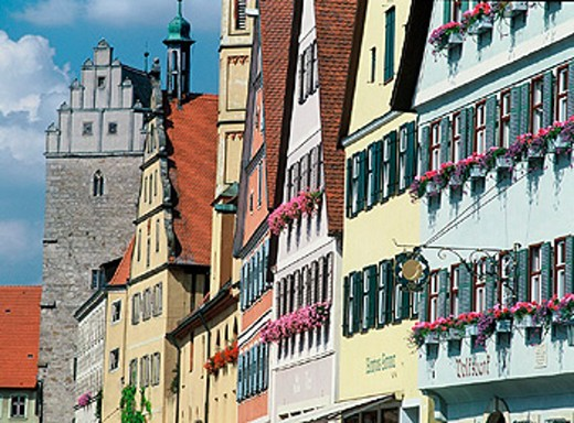 city, Dinkelsbuhl, Dr. Martin Luther Strasse, street, facades, framework, Germany, Europe, medieval, old town, roman : Stock Photo