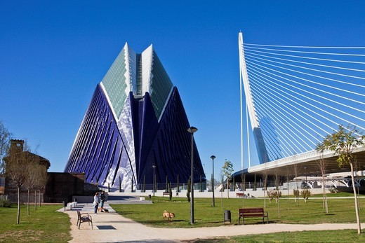 Spain, Europe, Valencia, City of Arts and Science, Calatrava, architecture, modern, Agora, park, Assut del Or, Bridge, : Stock Photo