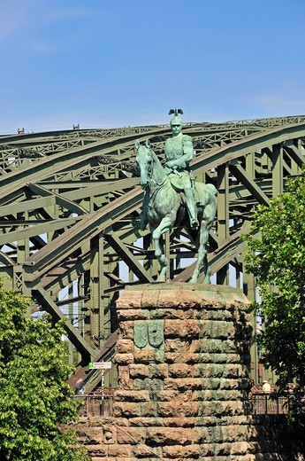 Monument, Germany, Europe, history, Hohenzollernbrücke, emperor, culture, art, Cologne, rider, monument, equestrian, statue, Wilhelm : Stock Photo