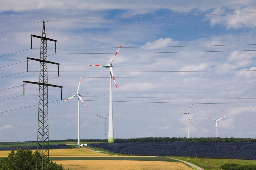 Stock Photo: 1597-144743 Germany, energy, solar energy, solar energy, wind turbine, alternative energy, ecology, power, power pole