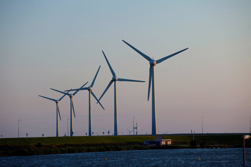 Stock Photo: 1597-144785 Holland, Europe, Netherlands, energy, wind power plant, alternative, power, wind energy, wind turbine, wind farm