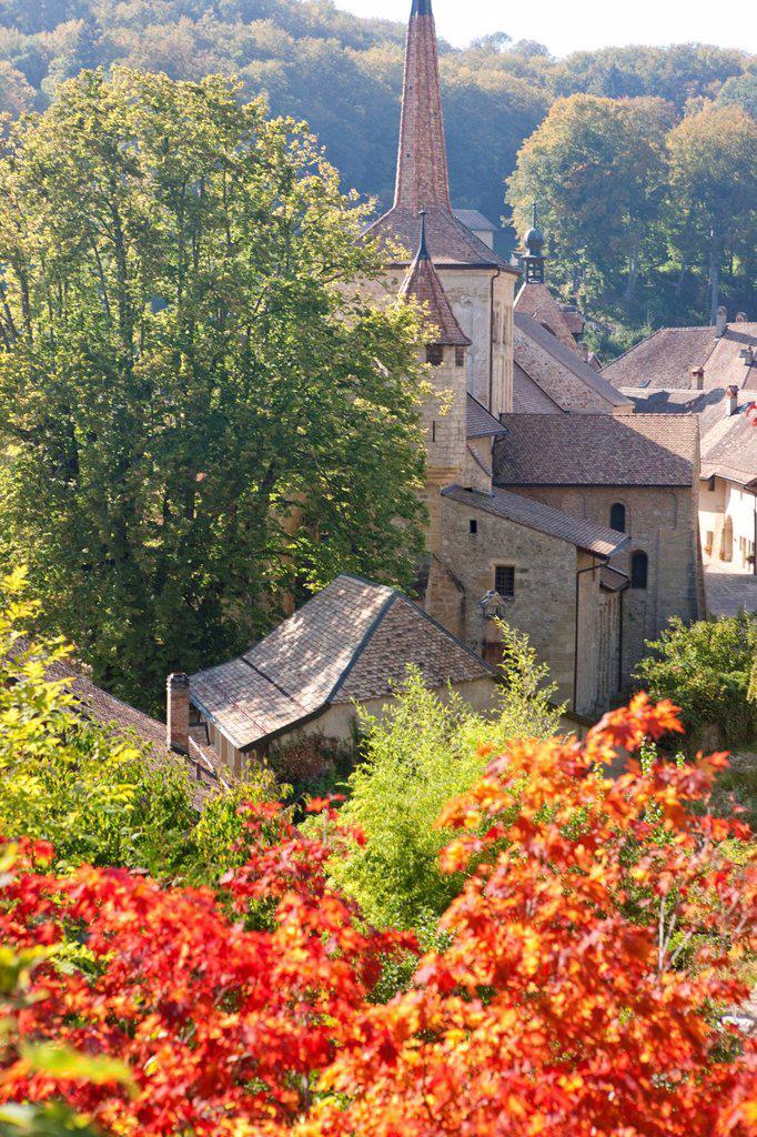 Church, religion, cloister, canton, Vaud, Waadt, Switzerland, Europe, Romainmotier : Stock Photo