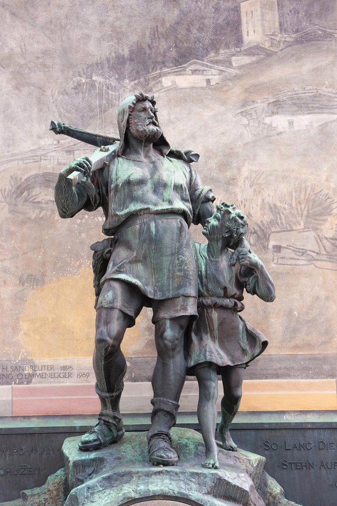 Stock Photo: 1597-145376 Uri, Switzerland, Europe, central Switzerland, Wilhelm Tell, William, Tell, monument, crossbow, Altdorf,