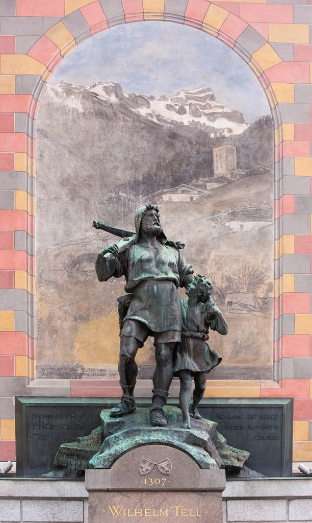 Uri, Switzerland, Europe, central Switzerland, Wilhelm Tell, William, Tell, monument, crossbow, Altdorf, : Stock Photo