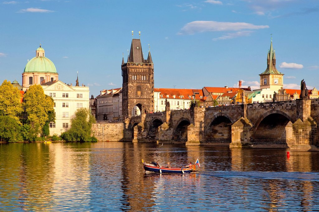 czech republic prague _ charles bridge and spires of the old town : Stock Photo