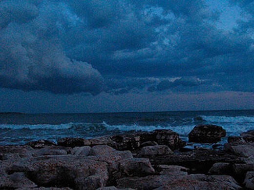 at night, coast, Croatia, Europe, dusk, Mood, night, Novigrad, rock, scenery, landscape, sea, surf, twilight : Stock Photo