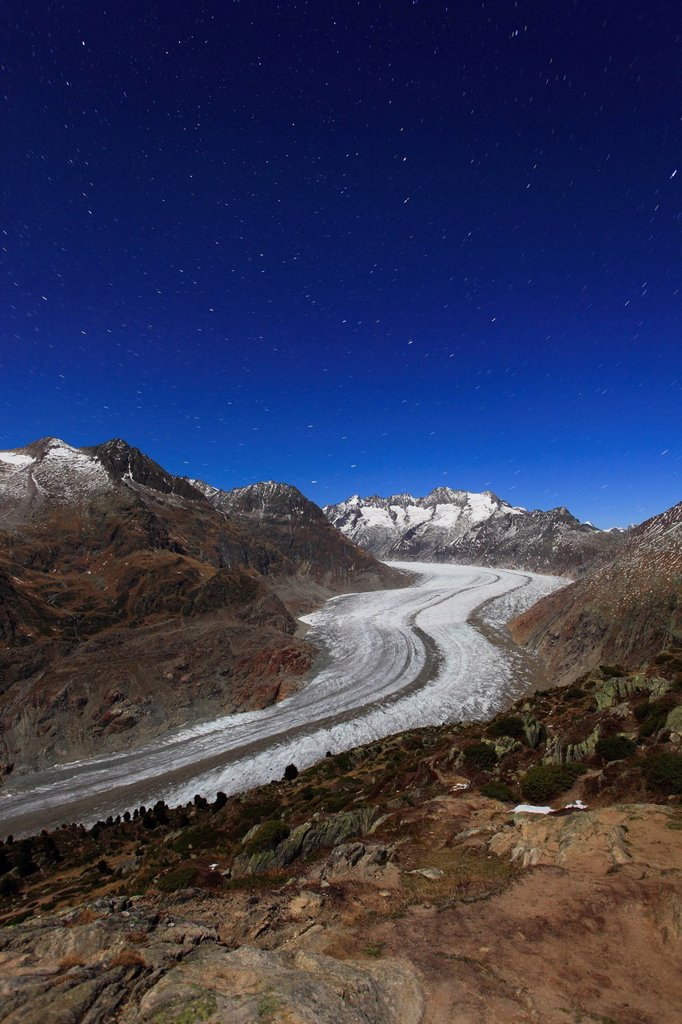 Stock Photo: 1597-145579 Evening sky, Aletsch, Aletsch glacier, Aletsch area, Aletsch glacier, mountains, Alps, view, Aletsch wood, forest, big, great, mountains, Alps, autumn, colors, moonlight, night, by night, night sky, stars, star tracks, Unesco, world heritage, Valais, Swit. Evening sky, Aletsch, Aletsch glacier, Aletsch area, Aletsch glacier, mountains, Alps, view, Aletsch wood, forest, big, great, mountains, Alps, autumn, colors, moonlight, night, by night, night sky, stars, star tracks, Unesco, world heritage,