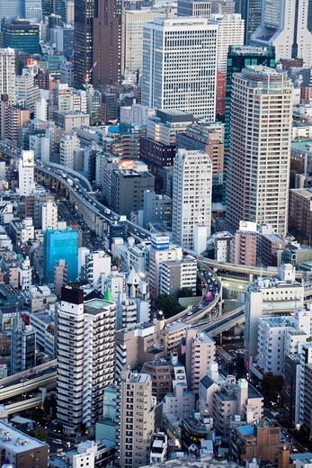 Japan, Asia, Tokyo, city, Shuto, Expressway, Central Tokyo, architecture, big, buildings, city, downtown, expressway, huge, metropolis, skyline, evening, night, lights, travel, touristic : Stock Photo