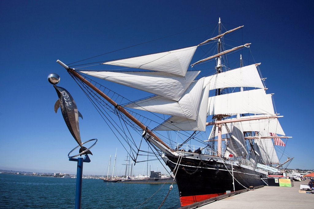 Stock Photo: 1597-145738 USA, United States, America, California, San Diego, City, Maritime Museum, sailing boat, The Star of India.,
