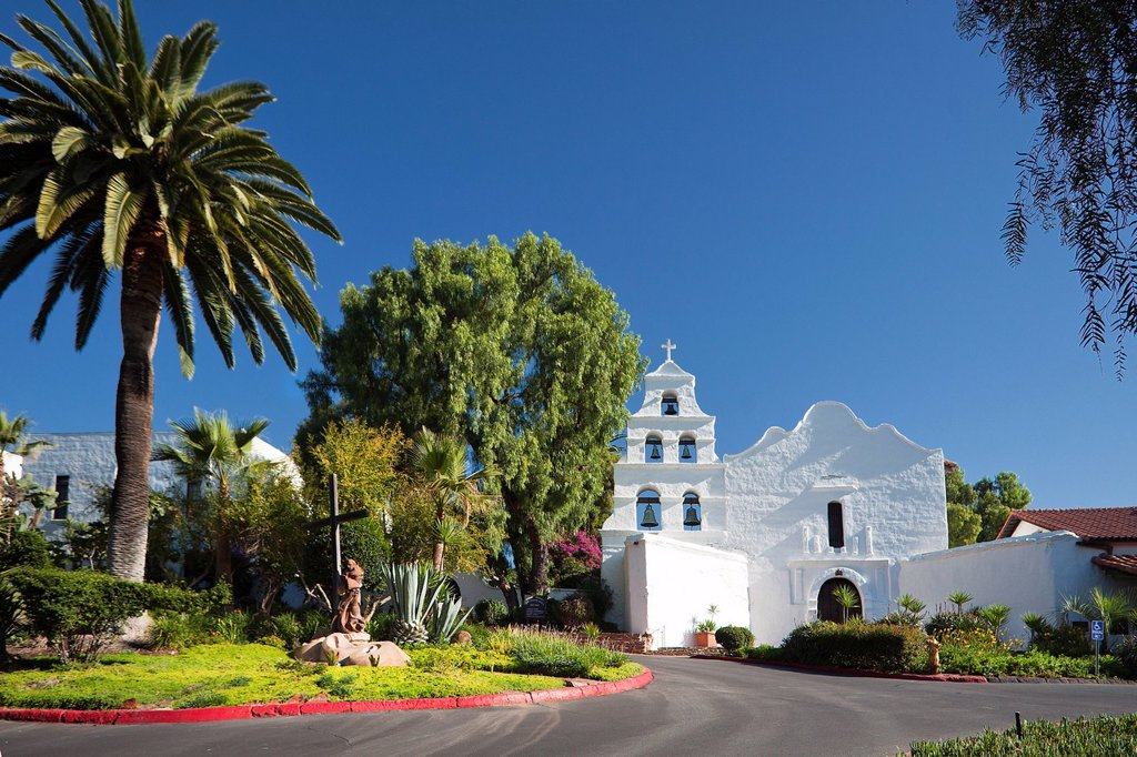 USA, United States, America, California, San Diego, City, Old Mission, Alcala, beautiful, belfry, cactus, California, catholic, church, colonial, conquest, cross, garden, historic, history, mission, new Spain, peaceful, religion, Spanish, white : Stock Photo