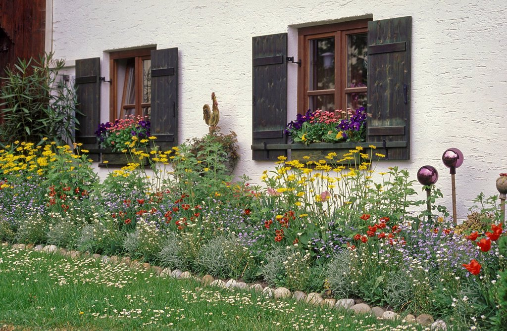 Stock Photo: 1597-146257 Europe, Germany, Bavaria, Upper Bavaria, Berchtesgaden country, flower, flowers, blossom, blossoms, garden, garden flower, garden flowers, garden, patch, flowerbed, patch, plantation, plant,