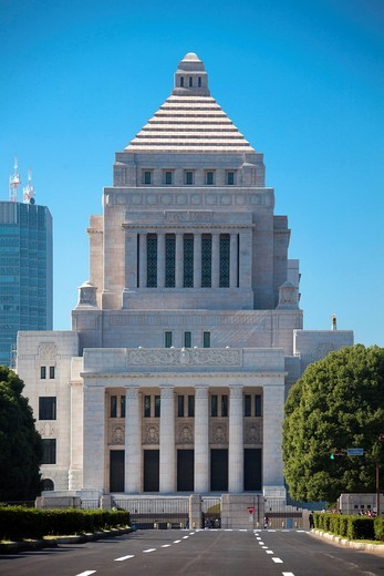 Japan, Asia, Tokyo, city, National Diet, building, architecture, blue, central, city, diet, downtown, government, parliament, : Stock Photo