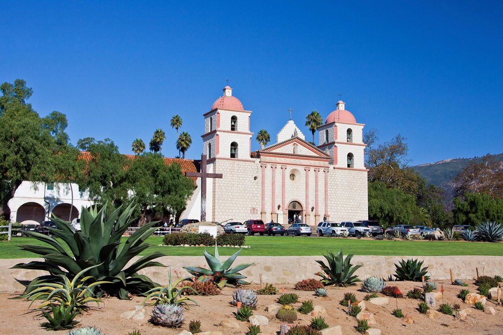 Stock Photo: 1597-146721 USA, United States, America, California, Santa Barbara, City, Old Mission, beautiful, cactus, California, catholic, church, colonial, conquest, cross, garden, historic, history, mission, new Spain, peaceful, religion, Spanish