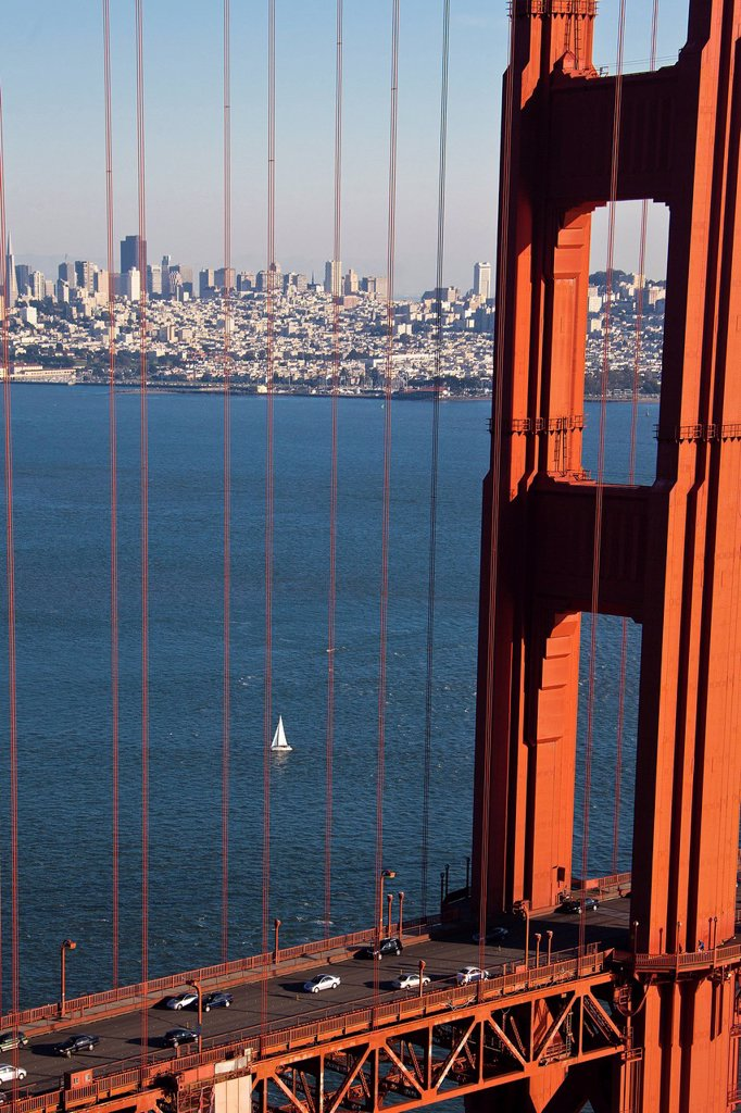 Stock Photo: 1597-147057 USA, United States, America, California, San Francisco, City, Golden Gate Bridge, downtown, architecture, bay, bridge, cables, downtown, famous gate, red, skyline, suspension, symbol, traffic, travel, touristic