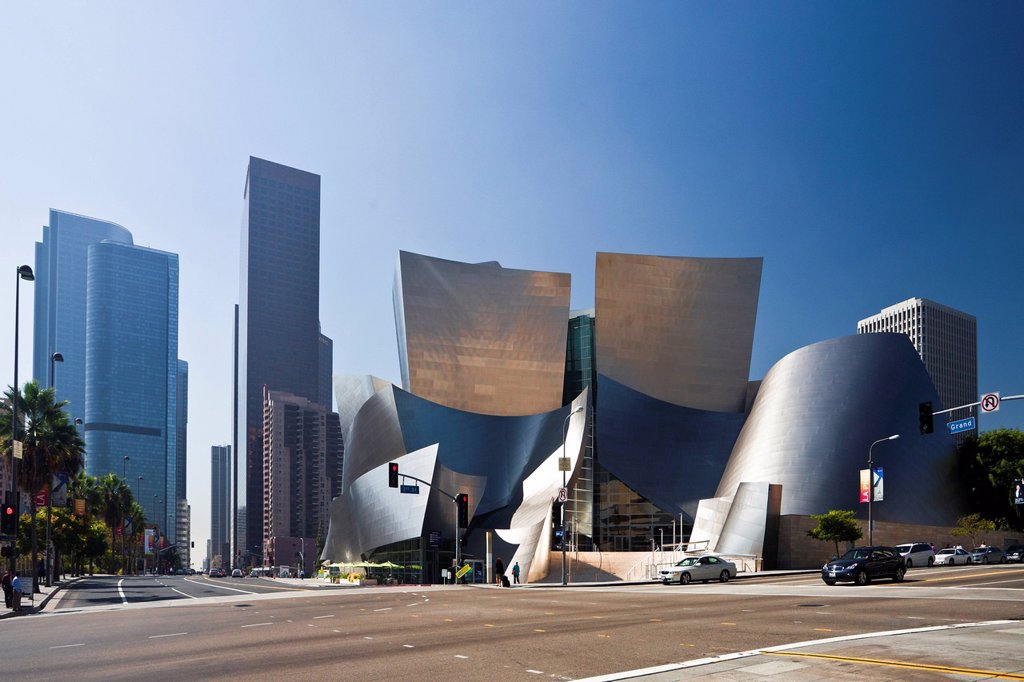 USA, United States, America, California, Los Angeles, City, Walt Disney, Concert Hall, Architect, Gehry, architecture, attraction, curved, different, exotic, famous, modern, original, silver, skyline : Stock Photo
