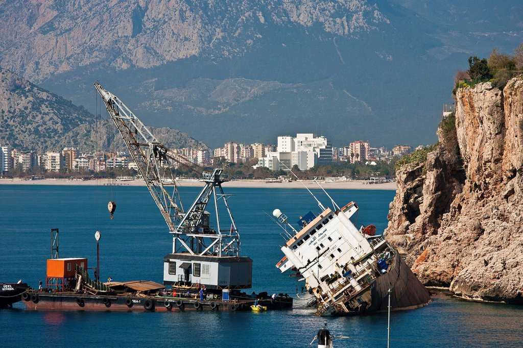 Stock Photo: 1597-147759 Antalya, recovery, Bolivia, freighter, freight hauler, harbour, port, average, quay, Mediterranean Sea, province Antalya, tractor, swimming crane, town, city, south coast, Taurus, Turkey, Turkish Riviera, stranded, rescue, bolivian flag, banner, damage, T. Antalya, recovery, Bolivia, freighter, freight hauler, harbour, port, average, quay, Mediterranean Sea, province Antalya, tractor, swimming crane, town, city, south coast, Taurus, Turkey, Turkish Riviera, stranded, rescue, bolivian flag, banne