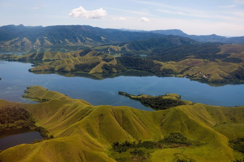 Aerial View, aeration, shot, photo, Birds eye perspective, high_angle, flight, air, flying, over, Outdoor, Panorama, View, Sight, Lake Sentani, Danau Sentani, Port Numbay, Landscape, Panorama, Scenery, Nature, Lake Senatnai, Jayapura, Papua, Irian Jaya, N. Aerial View, aeration, shot, photo, Birds eye perspective, high_angle, flight, air, flying, over, Outdoor, Panorama, View, Sight, Lake Sentani, Danau Sentani, Port Numbay, Landscape, Panorama, Scenery, Nature, Lake Senatnai, Jayapura, Papua, I : Stock Photo