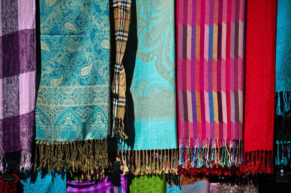 Stock Photo: 1597-148470 Craft, small present, scarf, souvenir, material, materials, textiles, dry goods, cloth, scarf, Turkey, Turkish Riviera, textiles, dry goods, bright, textile, touristical, typical, Turkish
