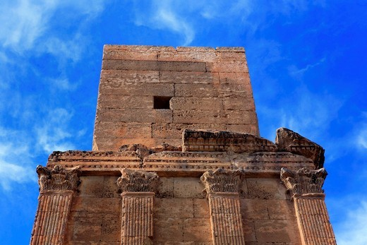 Stock Photo: 1597-149380 Africa, African, Maghreb, North Africa, North African, Tunisia, tourism, travel, destinations, tunisian, world locations, Architecture, building, Roman, mausoleum of Flavii, 2nd century, Kasserine, Tower, tomb