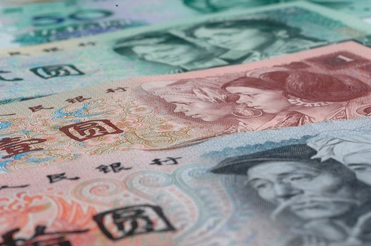 Stock Photo: 1597-150126 Money, notes, coins, colorful, Yuan, CNY, Renminbi, RMB, China, currency,