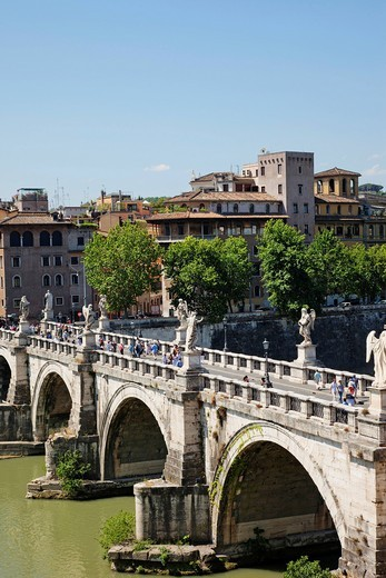 Stock Photo: 1597-150165 Europe, Italy, Rome, Sant´ Angelo Bridge, Ponte S´Angelo, Bridge, Tiber River, River, Tourism, Holiday, Vacation