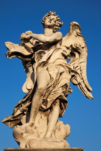 Europe, Italy, Rome, Sant´ Angelo Bridge, Ponte S´Angelo, Bridge, Angel, Statue, Tourism, Holiday, Vacation : Stock Photo