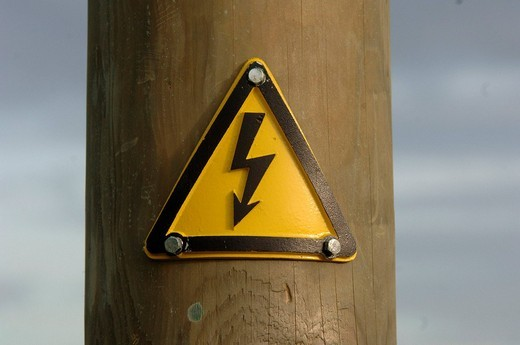 High voltage, electricity, post, jamb, Power, electricity, symbol, energy supply, warning board, board, iron, energy : Stock Photo