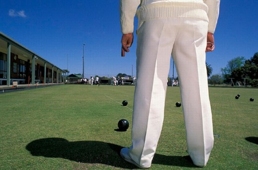 Stock Photo: 1597-15060 Australia, Country Club, Lawn Bowls, Victoria, Yarram, grass, ball, ballgame, bullets, men, people, no model release