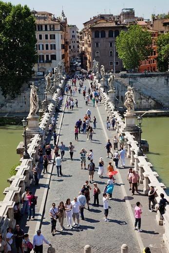 Europe, Italy, Rome, Sant´ Angelo Bridge, Ponte S´Angelo, Bridge, Tiber River, River, Tourism, Holiday, Vacation : Stock Photo