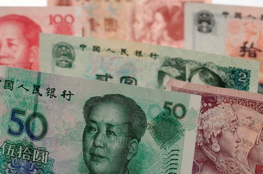 Stock Photo: 1597-150629 Money, notes, coins, colorful, Yuan, CNY, Renminbi, RMB, China, currency,