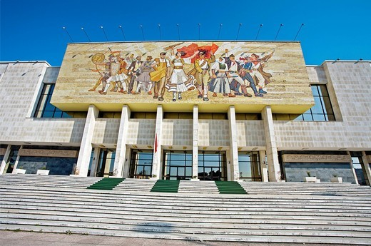 Europe, Albania, Tirana, propaganda, Socialist, Socialist propaganda, National Museum, Skanderbeg square, Travels, Travel, World travel, World locations, Museums, Museum, Gallery, Galleries, Art, Facades, Facade, City, Cities, Urban, Nobody, Outside, Outd. Europe, Albania, Tirana, propaganda, Socialist, Socialist propaganda, National Museum, Skanderbeg square, Travels, Travel, World travel, World locations, Museums, Museum, Gallery, Galleries, Art, Facades, Facade, City, Cities, Urban, Nobody, O : Stock Photo